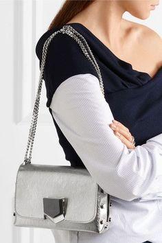 Jimmy Choo - Lockett Petite Metallic Brushed-leather Shoulder Bag - Silver - one size