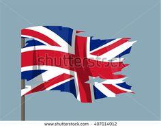 National waving flag vector editable banner ribbon country world UK United Kingdom Great Britain Union Jack torn - stock vector
