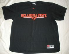 Oklahoma State Nike OSU Black Orange Mens T-Shirt Top Sz L  #Nike #OklahomaState http://stores.ebay.com/Castys-Collectibles?_dmd=2&_nkw=osu