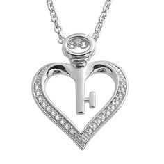 Diamond 925 Sterling Silver Key My Heart Pendant Necklace 008 Carat *** You can find more details by visiting the image link.Note:It is affiliate link to Amazon.