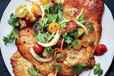 Crispy Chicken Cutlets with Cherry Tomato Panzanella. Leaving the skin on gives these cutlets a satisfying layer of fatty crunch when cooked. Cherry Tomato Recipes, Summer Chicken, Chicken Parmigiana, Chicken Cutlets, Chicken Breasts, Chicken Thighs, Chicken Wings, Boneless Skinless Chicken, Gourmet