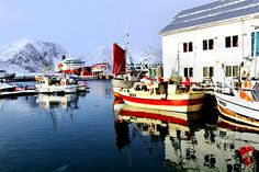Colorful boats tied up in the harbor at Honningsvag