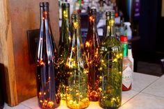 Three Recycled Wine Bottle Lights - Wine Bottle Lamp - Wine Decor - Wine Gifts - Lighted Wine Bottle - Gifts for Her - Wedding Gift