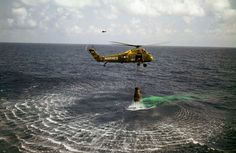 Ocean rescue, as a helicopter lifts NASA astronaut Alan Shepard from the water in May of 1961