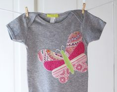 Baby Girl Butterfly Onesie- Heather Grey and Pink Handmade butterfly Applique Onesie