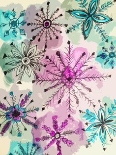 fineliner and water colour snowflakes