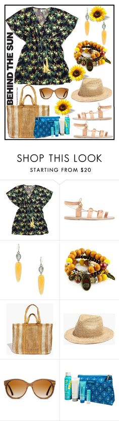"""""""BEHIND THE SUN!!!"""" by kskafida ❤ liked on Polyvore featuring Hipanema, Ancient Greek Sandals, Lauren Ralph Lauren, Emi Jewellery, Madewell, Shwood and COOLA Suncare"""