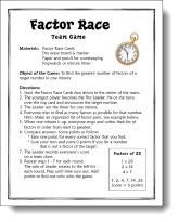 Factor Race Game - great math center activity for having students practice finding the factors of a number. plus faction activities Sixth Grade Math, Fourth Grade Math, Math Multiplication, Maths, Factors And Multiples, Math Workshop, Guided Math, Elementary Math, Math Classroom