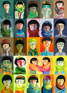Glasses Jenny Meilihove via Etsy I love this print. I was looking for portraits with glasses a while back and came across these colourful characters. I like the glasses and scarf combo, I would like to try something similar but the lady has curls... hmm... a self portrait really!