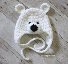Crochet Polar Bear Hat Pattern I made this one in light pink. It's one of the best patterns I've tried so far.