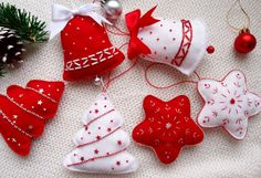 Christmas Ornaments Set of Felt Christmas Decorations Set, Fet Ornaments Set, Holiday Decor, Red and White Christmas Ornaments Set White Christmas Ornaments, Handmade Christmas Decorations, Felt Decorations, Felt Ornaments, Christmas Sewing, Christmas Embroidery, Christmas Crafts, Christmas Projects, Holiday Crafts