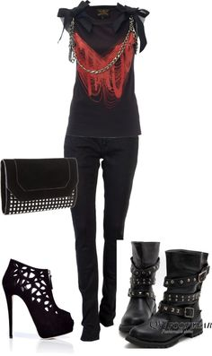rocker outfit, created by nicseb23 on Polyvore