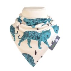 ORGANIC Baby Bandana Dribble Bib in TIFFANY BLUE TIGERS Gift Idea from BellaOski £7.00