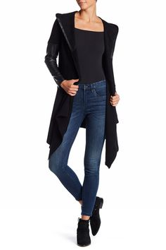Faux Leather Trim Long Hooded Jacket