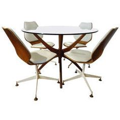 Adrian Pearsall Jax Dining Table with Bentwood Swivel Chairs