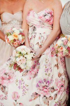{Wedding Trends} : Floral Bridesmaid Dresses - Belle The Magazine