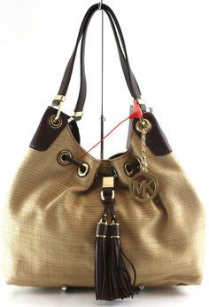 e0f70b8b7622 Michael KORS Natural STRAW Camden LARGE Drawstring Shoulder TOTE Bag NWT