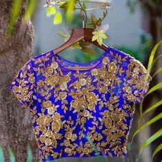 blue designer blouse with full gold work