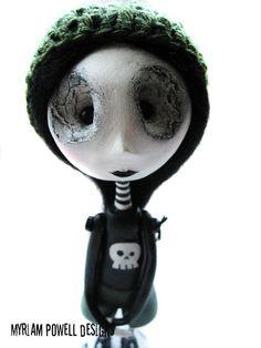 Art Doll - Goth Art Doll - Spooky Doll - Punisher Shirt