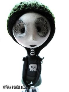 Art Doll - Goth Art Doll - Spooky Doll - Punisher Shirt
