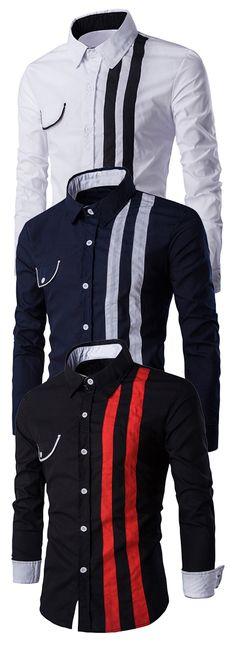 Flap Embellished Verticla Stripe Turn-Down Collar Long Sleeve Shirt For Men
