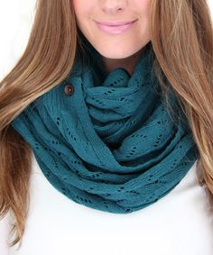 Another great find on #zulily! Teal Lace-Knit Button Scarf by Gertie & Baxter #zulilyfinds