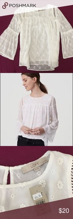 Loft Petite Daisy Bell Sleeve Blouse, NWT Beautiful flowy white blouse with daisy pattern. Amazing details. Perfect for Spring and early Summer time. Size XSP. LOFT Tops Blouses