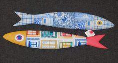 sardinhas em tecido de algodãocom motivos portugueses