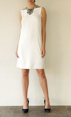 White Lanvin dress with crystal detailing