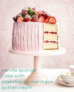 With fresh strawberries sandwiched in between each layer, plus a pile of fruit on top, this vanilla spongecake with fluffy meringue buttercream is a showstopping dessert for spring.