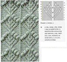 много  объемных схем (узоры из шишечек и листьев)