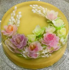Art Cakes, Cake Art, Agar Agar Jelly, 3d Jelly Cake, Jelly Flower, Food Decoration, Dessert Recipes, Desserts, Jello