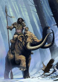 Skyrim/Far Cry Primal: Frost Giant on Mammoth by DeanSpencerArt