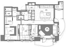 23.4 坪空間成功做出屋主希望的 3 房 2 廳格局。平面圖片提供_L'atelier Fantasia 繽紛設計