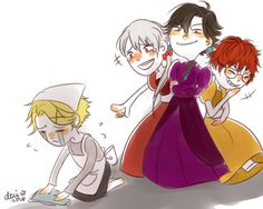 """lianeci: """" cinderella AU, everyone. """" @kziir RIKA'S THE FAIRY GODMOTHER, AND V IS THE PRINCE!. BOOM, SHIPPING."""