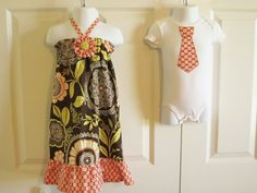 Brother Sister Matching Outfits - Girls Ruffled Halter Dress and Boys Tie Onesie or Tie Tshirt  - Lacework and Polka Dots - Lotus collection. $40.00, via Etsy.