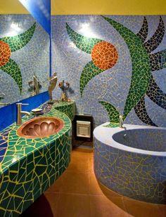 Fun with mosaic tiles in the bathroom! Casa de Cocinas in San Miguel de Allende – Mosaic Mosaic Bathroom, Mosaic Wall, Mosaic Glass, Mosaic Tiles, Mosaics, Cement Tiles, Bathroom Sinks, Tiling, Wall Tiles