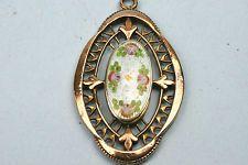 Fine Vintage Antique Rolled 9ct Gold & Enamel Decorated Pendant