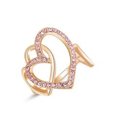 Winter.Z Noble and Elegant Ladies Jewelry Popular Explosion Models Austria Crystal Rose Gold Pink Heart-shaped Ring Wedding * It's so cheap! Additional details at the pin image, click it  : Women's Fashion for FREE