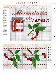 Cherries and jam free cross stitch patterns Cross Stitch Fruit, Cross Stitch Boards, Cross Stitch Kitchen, Cross Stitch Love, Cross Stitch Samplers, Cross Stitch Flowers, Cross Stitching, Cross Stitch Embroidery, Cross Stitch Patterns