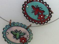 Double enamel bee pendants