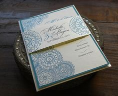 Henna Inspired Layered Wedding Invitations in Ivory & Teal