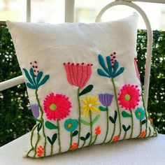 Crewel Embroidery Fabric Sales yet Embroidery Library Minky inside Embroidery Designs Guitar these Woolen Hand Embroidery Cushion Embroidery, Crewel Embroidery Kits, Hand Embroidery Designs, Embroidery Applique, Cross Stitch Embroidery, Embroidery Patterns, Mexican Embroidery, Flower Pillow, Needlework