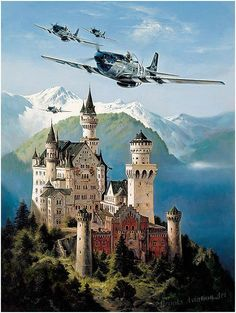 Kings of the Castle by Heinz Krebs  A flight of four North American P-51 Mustangs of the 352nd FG, led by fighter Ace Capt. William T. Whisn...: