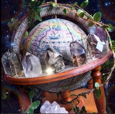 I don't know which is more impressive, the crystal collection or the globe of an ancient map. Link is broken. Crystals Minerals, Rocks And Minerals, Crystals And Gemstones, Stones And Crystals, Crystal Magic, Crystal Grid, Crystal Healing, Crystal Altar, Crystal Garden