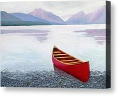 Red Canoe Painting by Dillard Adams - Red Canoe Fine Art Prints and Posters for Sale