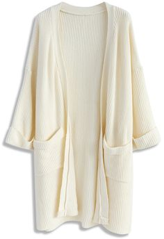 On The Hit List Longline Knit Cardigan in Ivory - New Arrivals - Retro, Indie…