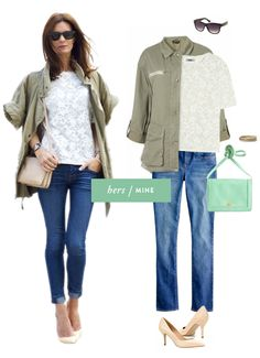 Skinny jeans, white lace shirt, military green jacket, pumps