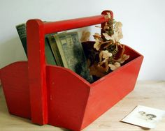 wooden tool box etsy. vintage red wood tool box tote carry all carrier rustic storage container. $48.00, via wooden etsy