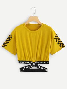 Shop Gingham Panel Cross Detail Tee at ROMWE, discover more fashion styles online. Crop Top Outfits, Cute Casual Outfits, Cute Summer Outfits, Crop Tops For Kids, Cute Crop Tops, Teen Fashion Outfits, Outfits For Teens, Yellow Clothes, Belly Shirts